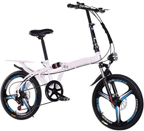 JTDSQDC 16 inch Bicycle 20 inch Folding Mountain Bike Adult Bicycle Sports Leisure Variable Speed Bicycle Suitable for School Travel (Color : White, Size : 16inches)