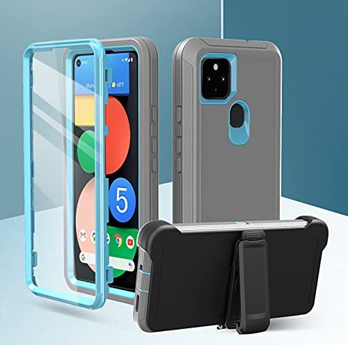 Google Pixel 5-5g case [with Screen Protector] Full Body Rugged Heavy Duty Dust Proof 3-Layer Durable Cover for Google Pixel 5-5g (lightgrey-lightblue, 5.8)