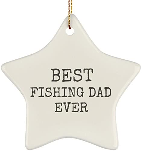 Awesome Fun Stuff Funny Fishing Xmas Ornament, Best Fishing Dad – Novelty Gift for Fishing Dads – Christmas Ornament