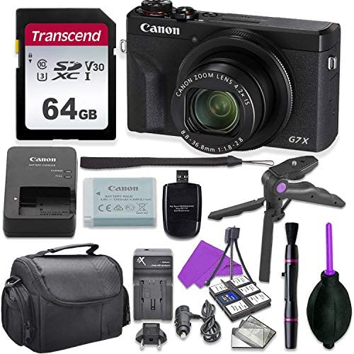Canon PowerShot G7 X Mark III Point & Shoot Digital Camera Bundle w/Tripod Hand Grip, 64GB U3 SD Memory, Case and More