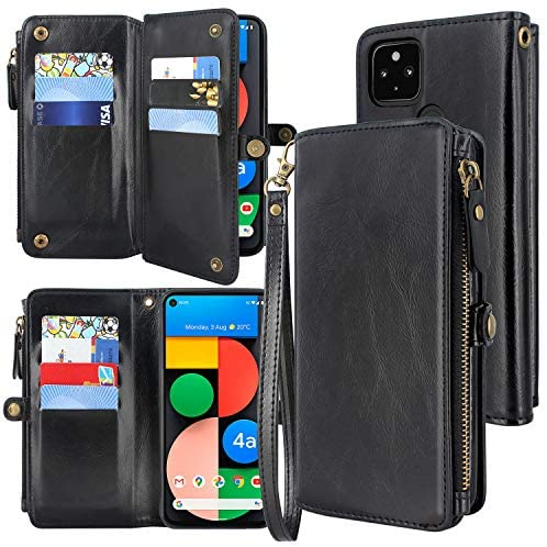 Harryshell [10 Card Slots] with [Block Theft Card Scanning] Function, PU Leather Flip Wallet Case Cover Zipper Pocket Wrist Strap Kickstand for Google Pixel 4A 5G(Not for Pixel 4A 4G) (Black)