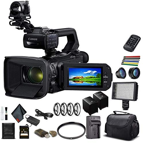 Canon XA55 Professional UHD 4K Camcorder (3668C002) W/Extra Battery, Soft Padded Bag, 64GB Memory Card, LED Light, Close Up Diopters, Lenses, and More Advanced Bundle (Renewed)