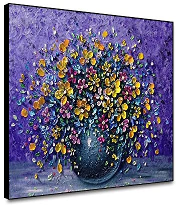 Yongto Canvas Wall Art Painting Prints Yellow Pink Floral Flower Purple Background Put Spring in a Vase Saxifraga Hand Painted Oil Painting for Living Room Kitchen Wall Decor 20×16 Inch Framed