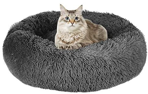 Mojonnie Donut Cat Bed, Round Faux Fur Cat Bed Soft Plush Pet Cushion Bed Self-Warming Sleeping Bed for Cats Winter Pets Puppy Indoor Pet Round Nest