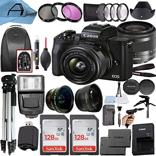 Canon EOS M50 Mark II Mirrorless Digital Camera 24.1MP Sensor with EF-M 15-45mm is STM Lens + 2 Pack SanDisk 128GB Memory Card + Backpack + A-Cell Accessory Bundle (Black)