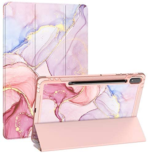 PIXIU Folio Case for Samsung Galaxy Tab S7 with S Pen Holder,Heavy Duty Trifold Stand PU Lleather Smart Cover with Auto Wake/Sleep Feature for Tab S7 11 inch SM-T870/T875/T876 Purple Marble