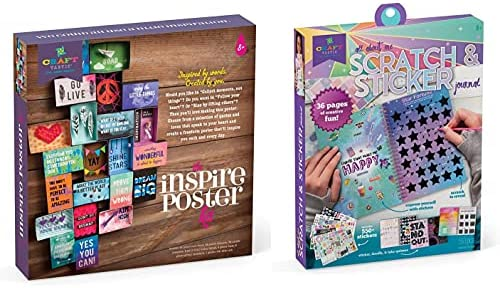 Craft-tastic All About Me Bundle: Includes 1 DIY Inspire Poster Craft Kit & 1 Interactive Scratch & Sticker Journal