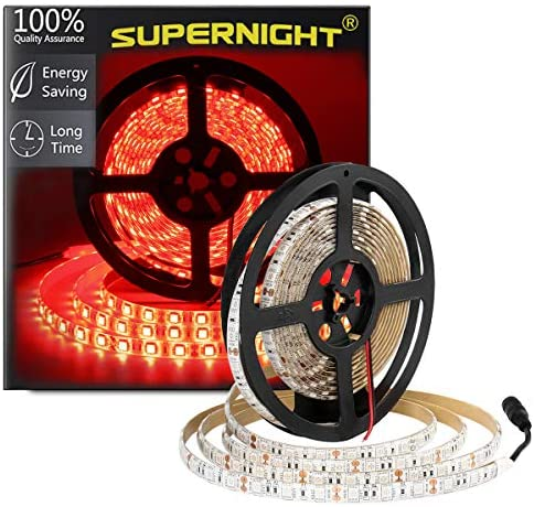 SUPERNIGHT Red LED Strip Lights Waterproof, 16.4ft 300leds Rope Lighting, Flexible Tape for TV, Boat, Vehicles, Cars, Dome, Room
