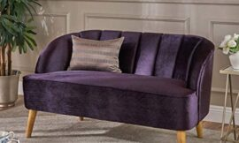 Contemporary Style Loveseat Sofa – Tufted Velvet Fabric Modern Design, Seashell Back Semi Firm Couch, Purple, Walnut, Round Arms Tapered Birch Wood Legs, 50″ Wide – Living Room Furniture & Home Decor