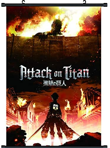 Attack On Titan Posters ,Attack On Titan Canvas Painting with Scroll Wood Hanger Decor for Home Dorm Office,Painting Premium Wall Art Hanging Poster 17 x 25 Inch (Attack on Titan 5)