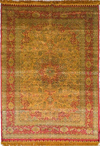 Yilong Carpet 5x8ft Persian Silk Antique Carpet Fine Handmade Floral Area Rug for Dinning Room Living Room Bedroom (Yellow&Red)