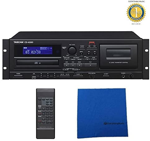 Tascam CD-A580 CD, USB and Cassette Player/Recorder with Microfiber and Free EverythingMusic 1 Year Extended Warranty
