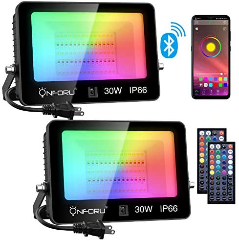 Onforu 2 Pcs 30W RGB LED Flood Lights, Bluetooth APP Control Dimmable Color Changing Floodlight with Remote, Music Synchronize, Timing, 2700K Warm White, IP66 Outdoor Colored Uplight for Garden, Party