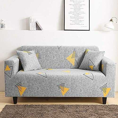 JIAYOUFC Sofa Slipcovers,Yellow Geometric Line Triangle Printed Elastic Couch Covers Living Room Non Slip Polyester Spandex Sofa Slipcover Universal Fitted Sofa Slipcover Furniture Bedroom Protector,3