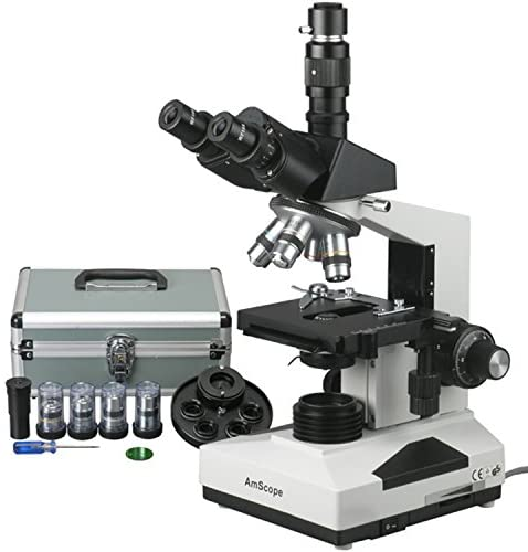 AmScope T490A-PCT Compound Trinocular Microscope with Phase-Contrast Turret, WF10x and WF16x Eyepieces, 40X-1600X Magnification, Brightfield/Darkfield, Halogen Illumination, Abbe Condenser, Double-Layer Mechanical Stage, Sliding Head, High-Resolution Optics
