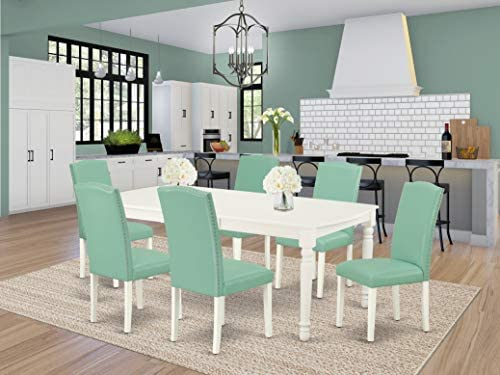 East West Furniture 7-Pieces Small Dinette Set-Pond PU Leather Dining Chairs-Linen White Finish 4 legs Hardwood Butterfly Leaf Rectangular Kitchen Table and Structure, 7