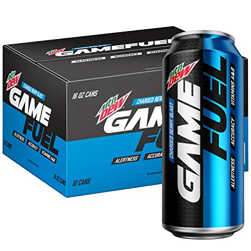 Mountain Dew Game Fuel, Charged Berry Blast, 16 Fl Oz. Cans (12 Pack) (Packaging May Vary), 192 Fl Oz