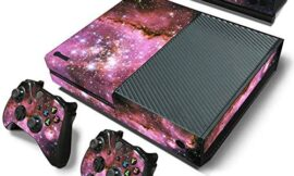 DOMILINA Protective Vinyl Skin Decal Cover for Microsoft Xbox One Console wrap Sticker Skins with Two Free Wireless Controller – Purple Galaxy