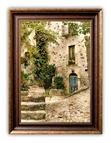 """""""Balcony with Blue Door"""", GALLERY FRAMED CANVAS 24 x 32, SIGNED, TUSCAN DECOR ART PRINT OF PAINTED BLACK & WHITE PHOTOGRAPH Made in USA"""
