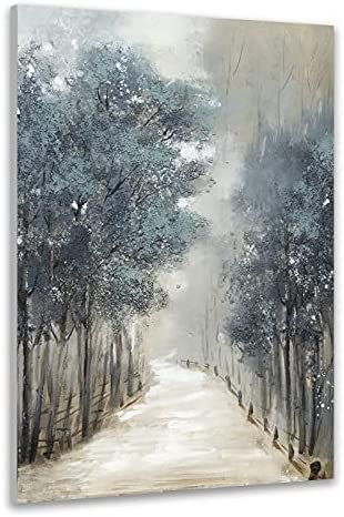 TRAIN2 ART Tree Wall Art for Living Room Hand-Painted Forest Oil Painting Wall Art on Canvas, Abstract Oil Paintings Modern Home Decor Landscape Artwork Stretched and Framed Ready to Hang 24″X36″
