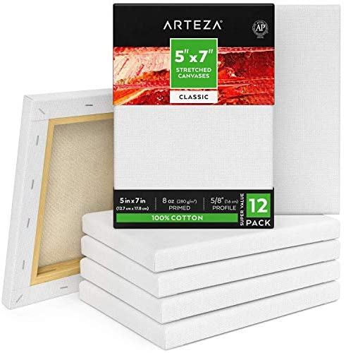 Arteza 5″x7″ Stretched White Blank Canvas, Bulk (Pack of 12), Primed 100% Cotton, for Painting, Acrylic Pouring, Oil Paint & Wet Art Media, Canvases for Professional Artist, Hobby Painters & Beginner
