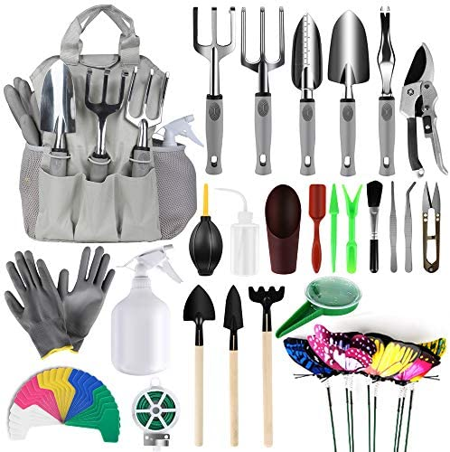 MasBekTe 57 Pcs Garden Tools Set Succulent Tools Set Heavy Duty Hand Tools Gardening Kit Storage Tote Bag Gloves Plant Labels Gardening Gifts