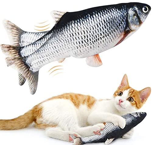 Floppy Fish Cat Toy, Moving Fish Toy for Cats, Interactive Flopping Cat Kicker Fish Toy, Dancing Wiggle Fish Catnip Toys, Electric Realistic Funny Flipping Catfish Toy for Cat Exercise