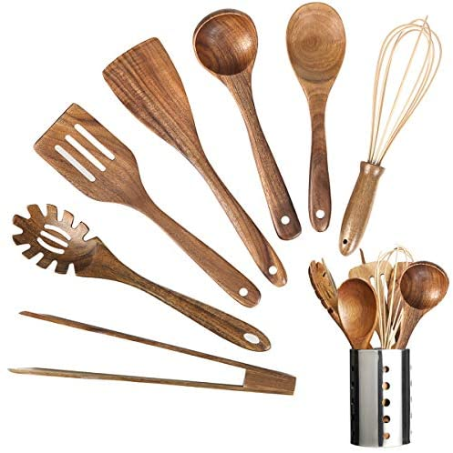 Wooden Kitchen Utensil Set,Wood Utensils Cooking Set Organic Teak Wood Spoons for Cooking,Spatulas Non-Stick for Cookware Kitchen Gadgets (8)
