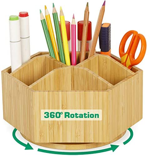 Bamboo Rotating Art Supply Organizer – Darfoo Office Desk Organizers, Colored Pencil Holder with 7 Sections, Home School Supplies Organizer and Storage for Pen Pencil Crayon Marker and Craft Supplies
