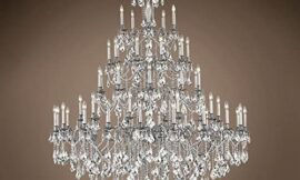 Traditional Versailles 55 Light 64″ Crystal Chandelier, Pewter Frame with Clear Swarovski Crystals, Hanging Ceiling Light