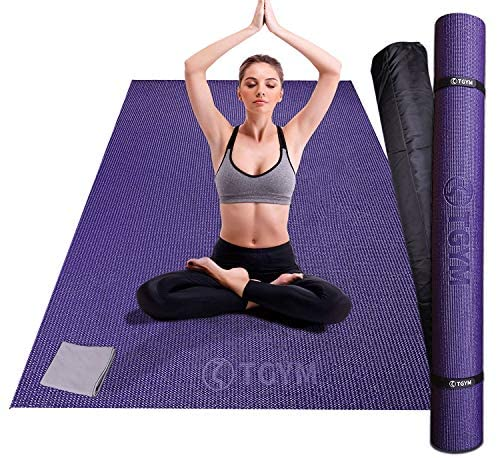 Large Exercise Mat 6'x4'x8mm Thick Workout Mats for Home Gym Flooring, Extra Wide Non-Slip Durable Cardio Mat – High Density, Perfect for Yoga, Stretching, Fitness, Jump Rope, Plyo, MMA – Shoe Friendly