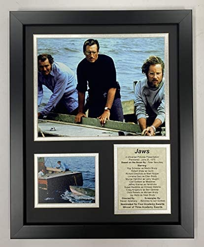 Jaws Movie Collectible | Framed Photo Collage Wall Art Decor – 12″x15″ | Legends Never Die