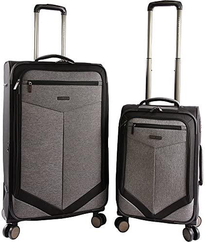 Perry Ellis Luggage Reverse 2 Piece Set Expandable Suitcase with Spinner Wheels, Grey Crosshatch, One Size