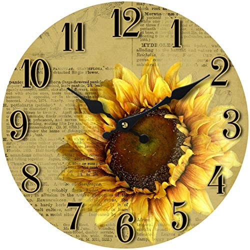 Wall Clock Wood Sunflower Scene Decorative 13 Inch Botany Theme Perfect for Kitchen Bathroom Office Rustic Battery Operated Clocks Great Theme for Bedroom Peaceful Decoration Ticking Oldschool