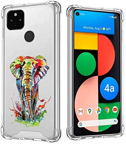 Clear Phone Case Compatible with Google Pixel 4A 5G Colorful Elephant Animals Design Hard PC Shield Soft TPU Bumper Anti-Fall Scratch-Proof Full Body Heavy Duty Protective Clear Cover