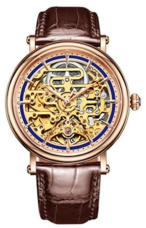 Reef Tiger Skeleton Dial Rose Gold Mens Watches Leather Strap Automatic Analog Watches RGA1917