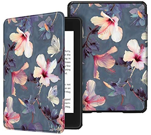 Fintie Slimshell Case for All-new Kindle Paperwhite (10th Generation, 2018 Release) – Premium Lightweight PU Leather Cover with Auto Sleep/Wake for Amazon Kindle Paperwhite E-reader, Blooming Hibiscus