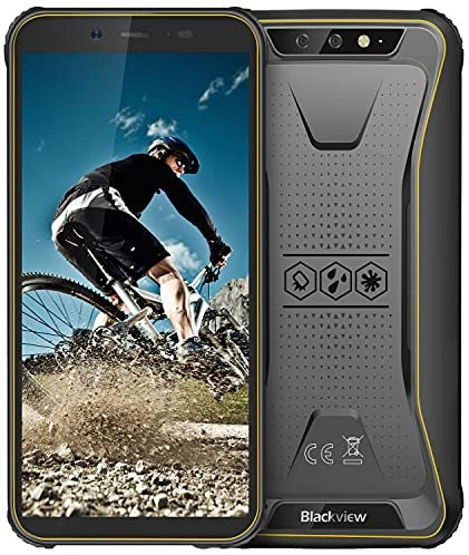 "Rugged Unlocked Cell Phones, Blackview BV5500 Plus 4G Smartphones IP68 Waterproof Drop Proof, 5.5"" 3GB+32GB Dual SIM [Quad Core] Android 10 4400mAh Battery and Face ID Mobile Phones, Yellow"