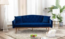 MAFOROB Sleeper Sofa Bed Velvet Couch Accent Loveseat with 2 Pillows for Living Room, Blue
