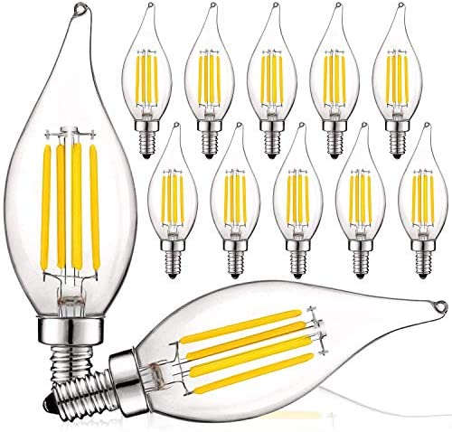 Luxrite Vintage Candelabra LED Bulb 60W Equivalent, 550 Lumens, 3000K Soft White, LED Chandelier Light Bulbs 5W, Dimmable, Flame Tip Clear Glass, Filament LED Candle Bulbs, E12 Base (12 Pack)