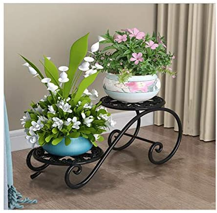 Iron 2-Layer Flower Stand Metal Plant Pot Stand Flower Display for Flower Pot Heavy Duty Potted Holder Indoor Outdoor Metal Rustproof Iron Garden Container Round Supports Rack for Planter