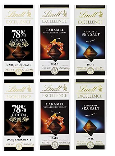 LINDT DARK CHOCOLATE ASSORTMENT 3.5 OZ (6 BARS) (78%-CARAMEL-SEA SALT)