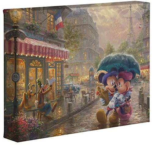 Thomas Kinkade Studios Disney Mickey and Minnie in Paris 8″ x 10″ Gallery Wrapped Canvas
