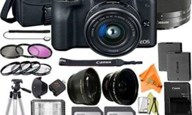 Canon EOS M50 Mirrorless Digital Camera 24.1MP w/EF-M 15-45mm f/3.5-6.3 is STM Lens + ZeeTech Accessory Bundle, 2 Pack SanDisk 32GB Memory Card, Case, Tripod, Filter Kit and Flash
