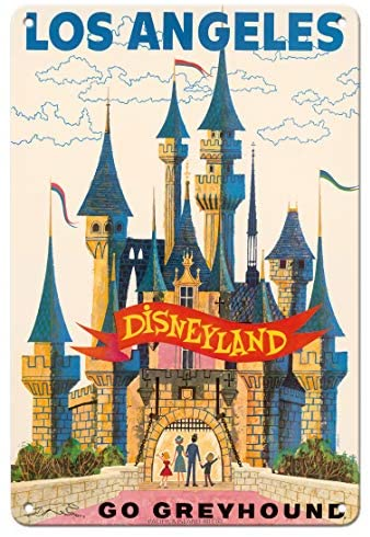 Pacifica Island Art Los Angeles, USA – Disneyland – Go Greyhound (Greyhound Bus Lines) California – Vintage Travel Poster c.1950s – 8in x 12in Vintage Metal Tin Sign