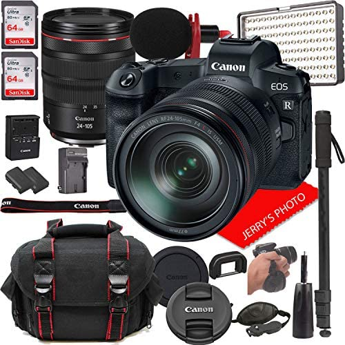 Canon EOS R Mirrorless Digital Camera with RF 24-105mm f/4L is USM Lens Bundle + LED Video Light, Microphone, Monopod, and More (24pcs)