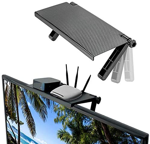 Tee Vee TV Top Shelf Screen Caddy Platform Adjustable Mount Top Shelf 13 Inch TV Screen Cellphone Stand for Media Boxes Game Console Router (1st TV Top Shelf)