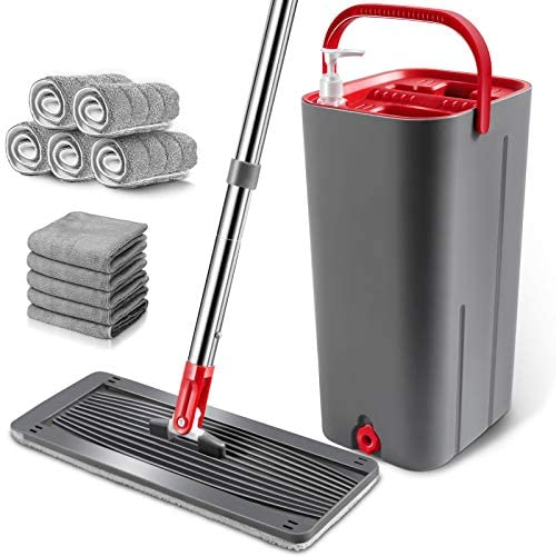 Flat Mop Bucket Set, Hands-Free Squeeze Mop Bucket, Self-Wringing Cleaning Mop Bucket with 5 Microfiber Mop Pads for Hardwood, Laminate, Tiles, Vinyl Cleaning-Send 5 Cleaning Cloths