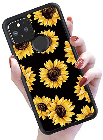 SAKUULO Case for Google Pixel 5XL & Pixel 4a 5G Case (Not for 4G), Sunflowers Pattern Hard PC Back and Soft TPU Bumper Ultra-Slim Shockproof Anti-Scratch Texture Case Cover Fit for Google Pixel 5XL.