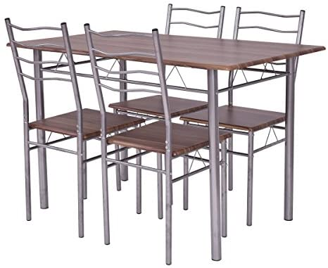 AK Energy 5Pc Office Cafeteria Table Set Wood Metal Kitchen Canteen Home Furniture w/ 4 Chair